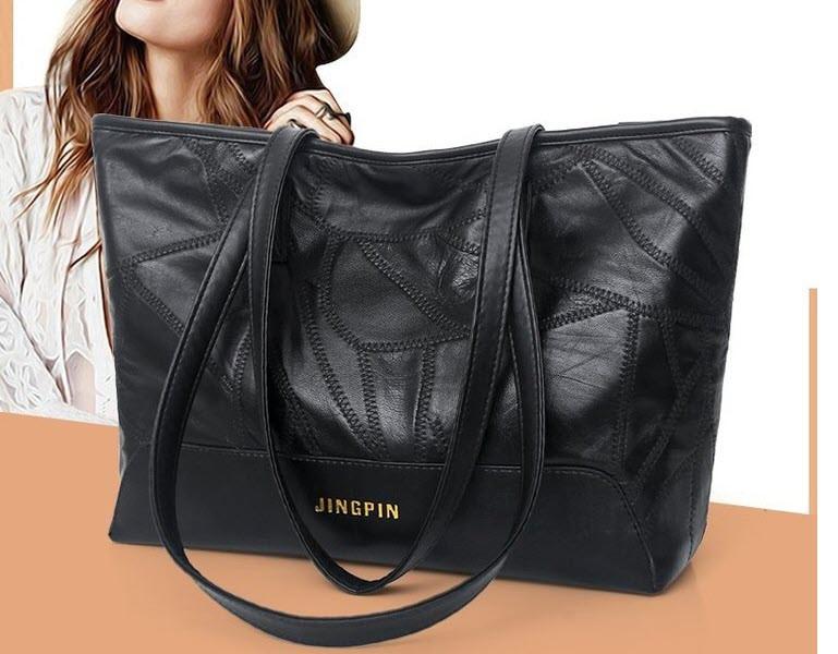 Велика класична чорна сумка шоппер