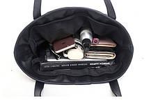 Велика класична чорна сумка шоппер, фото 2