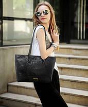 Велика класична чорна сумка шоппер, фото 3