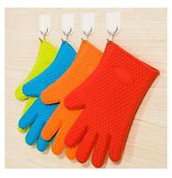 Силиконовая перчатка прихватка для горячего (голубая)