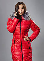 Женский зимний пуховик с мехом, цвет красный