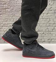 """Зимние замшевые мужские кроссовки с мехом Nike Air Force  """"Серые с красной подошвой"""" р. 41-45, фото 1"""