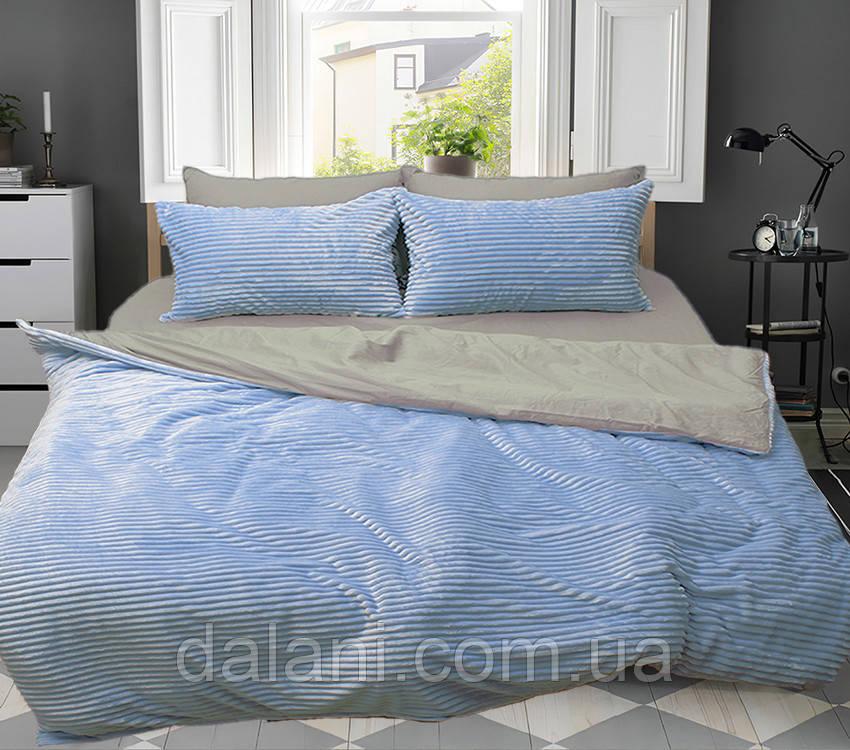 Евро комплект постельного белья зима-лето серый/голубой