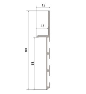 Плинтус  алюминиевый скрытого монтажа 80 мм с вставкой МДФ FLEX 75мм, фото 2