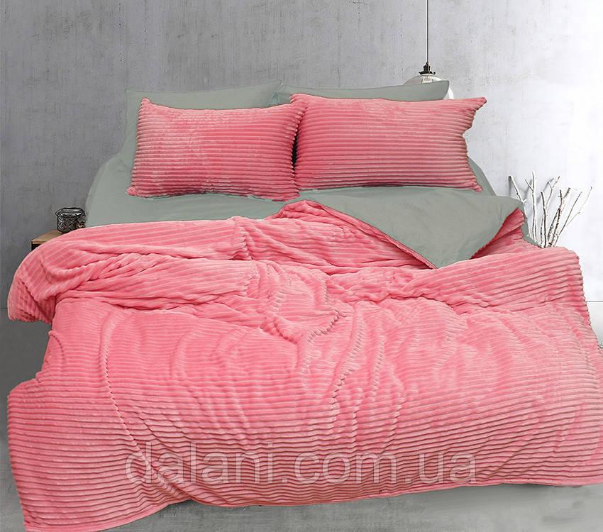 Евро комплект постельного белья зима-лето серый/розовый