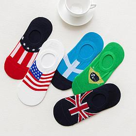Комплект носков (5 пар) с флагами и силиконовым фиксатором на ноге