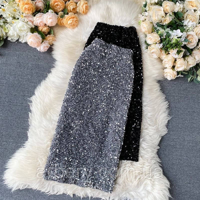 Шикарная юбка-резинка в пайетках