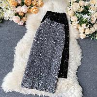 Шикарная юбка-резинка в пайетках, фото 1