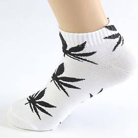 Короткие носки HUF белого цвета в черный лист
