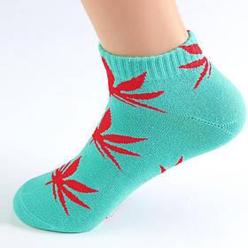 Короткие носки HUF голубого цвета в красный лист