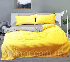 Двуспальный комплект постельного белья зима-лето серый/желтый