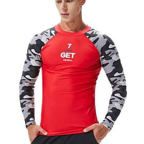 Рашгард спортивный камуфляжный Tauwell красного цвета