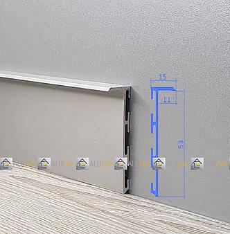 Плинтус  алюминиевый скрытого монтажа 53 мм без покрытия, фото 2