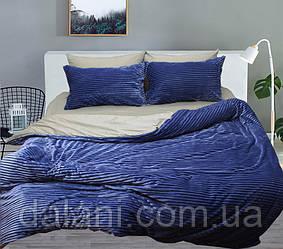 Двуспальный комплект постельного белья зима-лето синий/серый