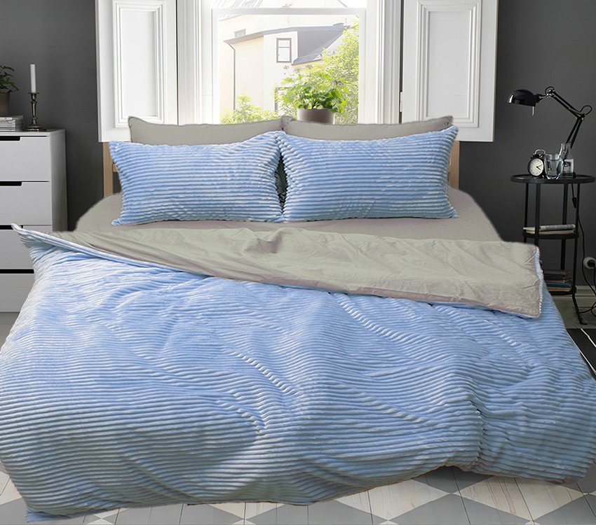 Двуспальный комплект постельного белья зима-лето голубой/серый