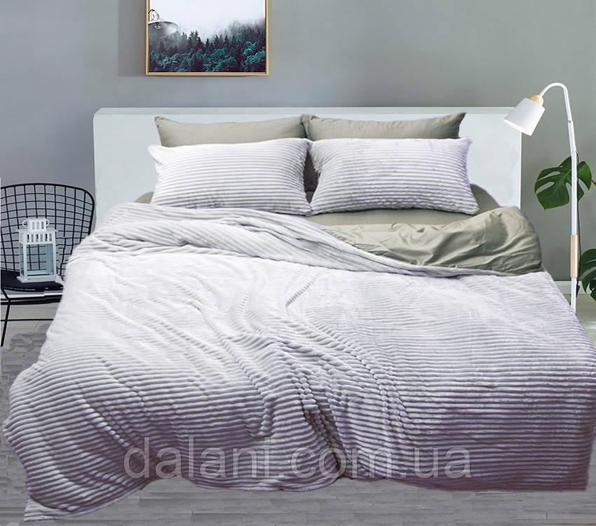 Двуспальный серый комплект постельного белья зима-лето
