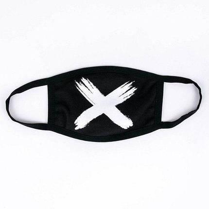 Багаторазова маска чорного кольору з білим хрестом, фото 2