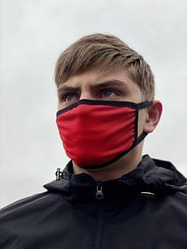 Тканинна захисна маска однотонна червоного кольору