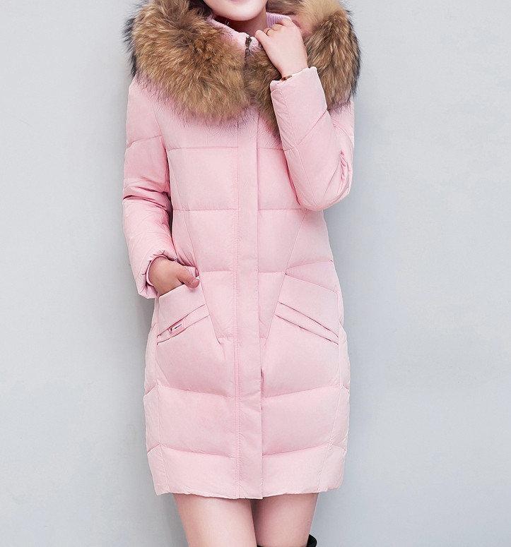 Куртка зимняя женская, длинный пуховик, цвет розовый СС-7811-30