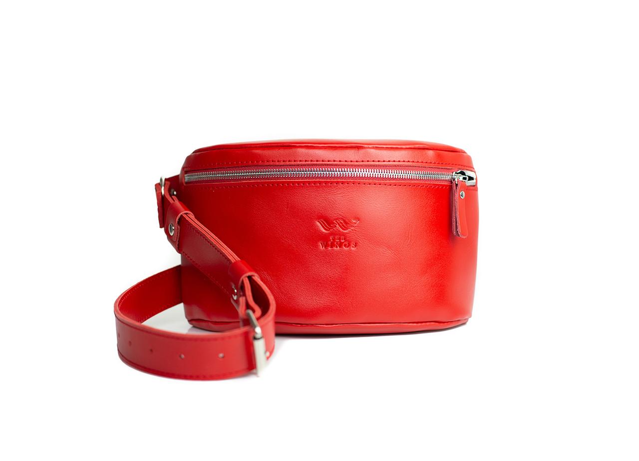 Кожаная поясная сумка красная