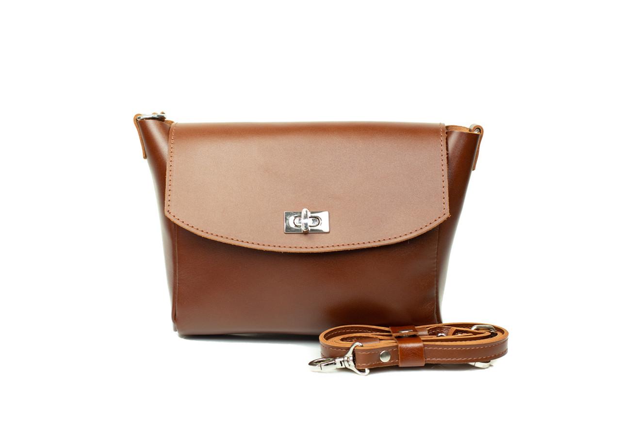 Жіноча шкіряна сумка Mini Cross світло-коричнева