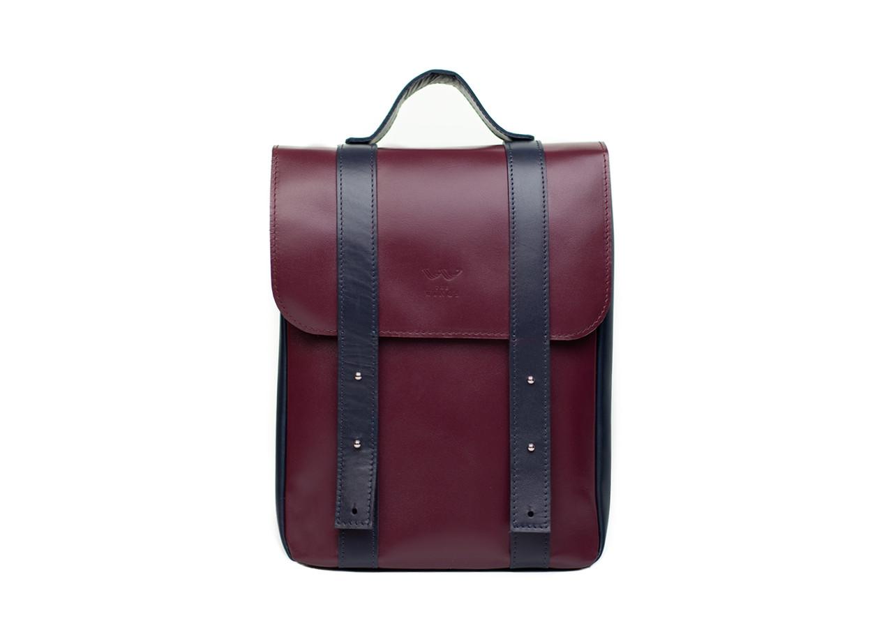 """Кожаный рюкзак 13"""" бордово-синий"""
