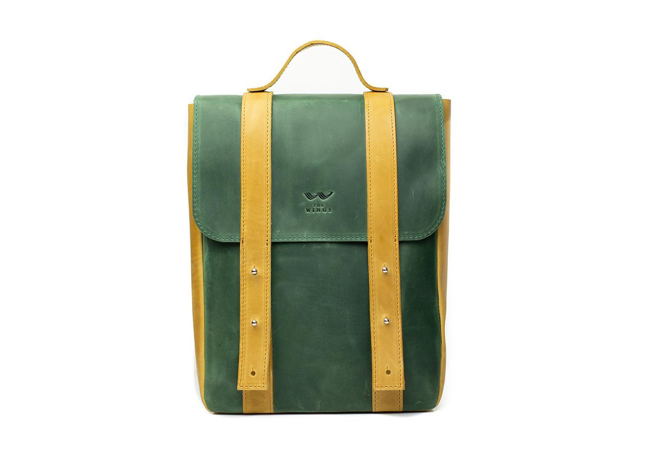 """Кожаный рюкзак 13"""" зелено-желтый винтажный"""