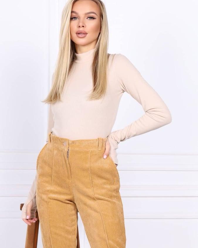 Женские вельветовые штаны бежевые