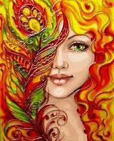 "Картина по номерам ""Вогняна дівчина"" з металевими фарбами 40*50см"