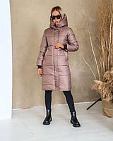 Жіноча довга зимова тепла куртка на синтепоні