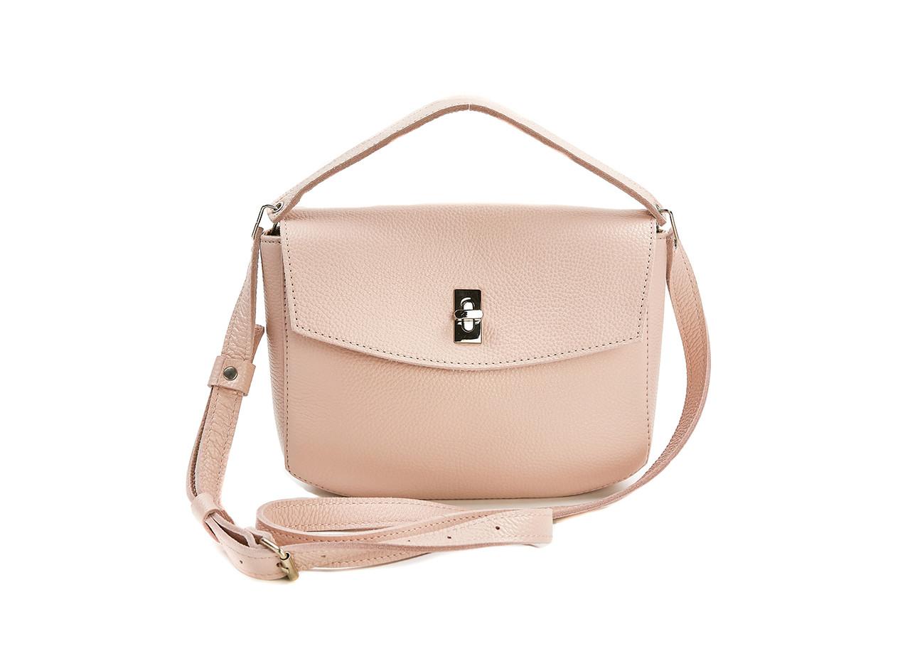 Жіноча шкіряна міні-сумка Eve пудрова флотар