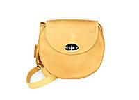 Жіноча шкіряна сумка Кругла жовта вінтажна