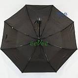 Мужской зонт полуавтомат складной Flagman 708 Черный спицы антиветер, фото 3