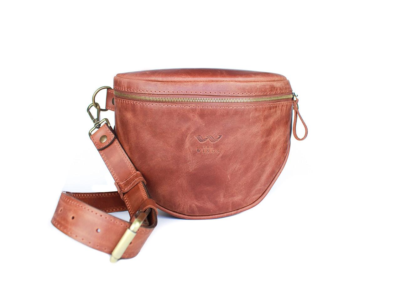 Кожаная сумка поясная-кроссбоди Vacation светло-коричневая винтажная