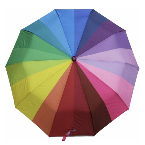 Зонт жіночий Веселка складаний напівавтомат Mario Umbrella 10 спиць антиветер Райдужний красивий