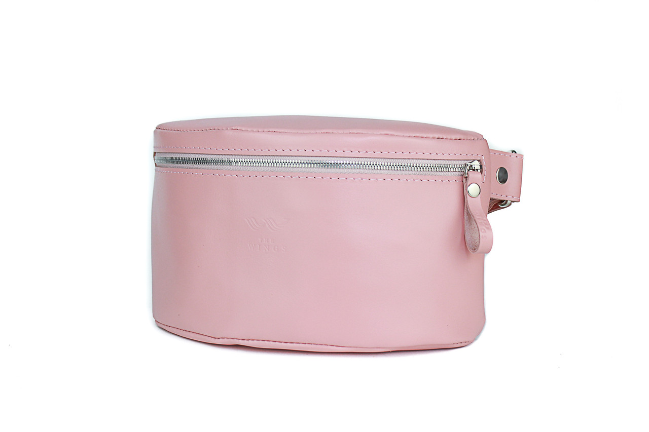 Жіноча шкіряна поясна сумка рожева гладка