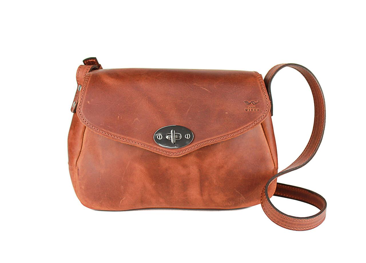 Жіноча шкіряна сумка Трапеція світло-коричнева вiнтаж