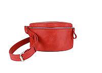 Кожаная поясная сумка красная винтажная