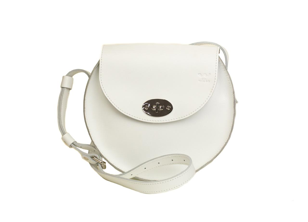 Женская кожаная сумка Круглая белая