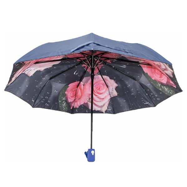 Жіночий напівавтомат зонт з подвійним куполом Fiaba складаний красивий з квітами всередині 9 спиць Синій 7928