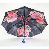 Жіночий напівавтомат зонт з подвійним куполом Fiaba складаний красивий з квітами всередині 9 спиць Синій 7928, фото 2