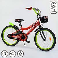 Велосипед детский двухколесный Corso 20 дюймов 6-9 лет со стальной рамой с корзинкой Оранжевый (13637)
