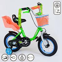 Велосипед детский двухколесный Corso 12 дюймов 3-4 года со стальной низкой рамой и корзинкой Салатовый (13674)