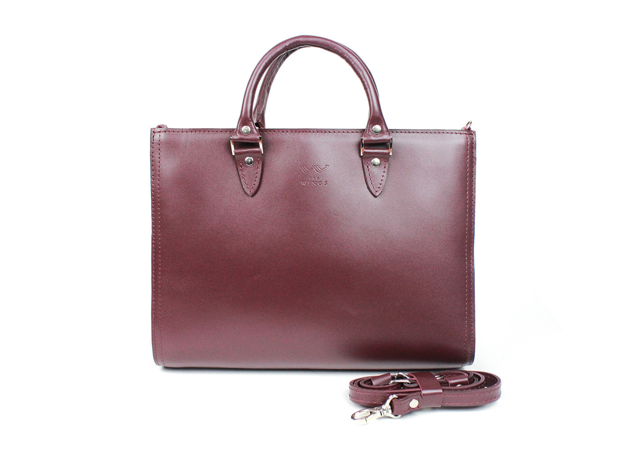 Жіноча шкіряна сумка Fancy A4 бордова