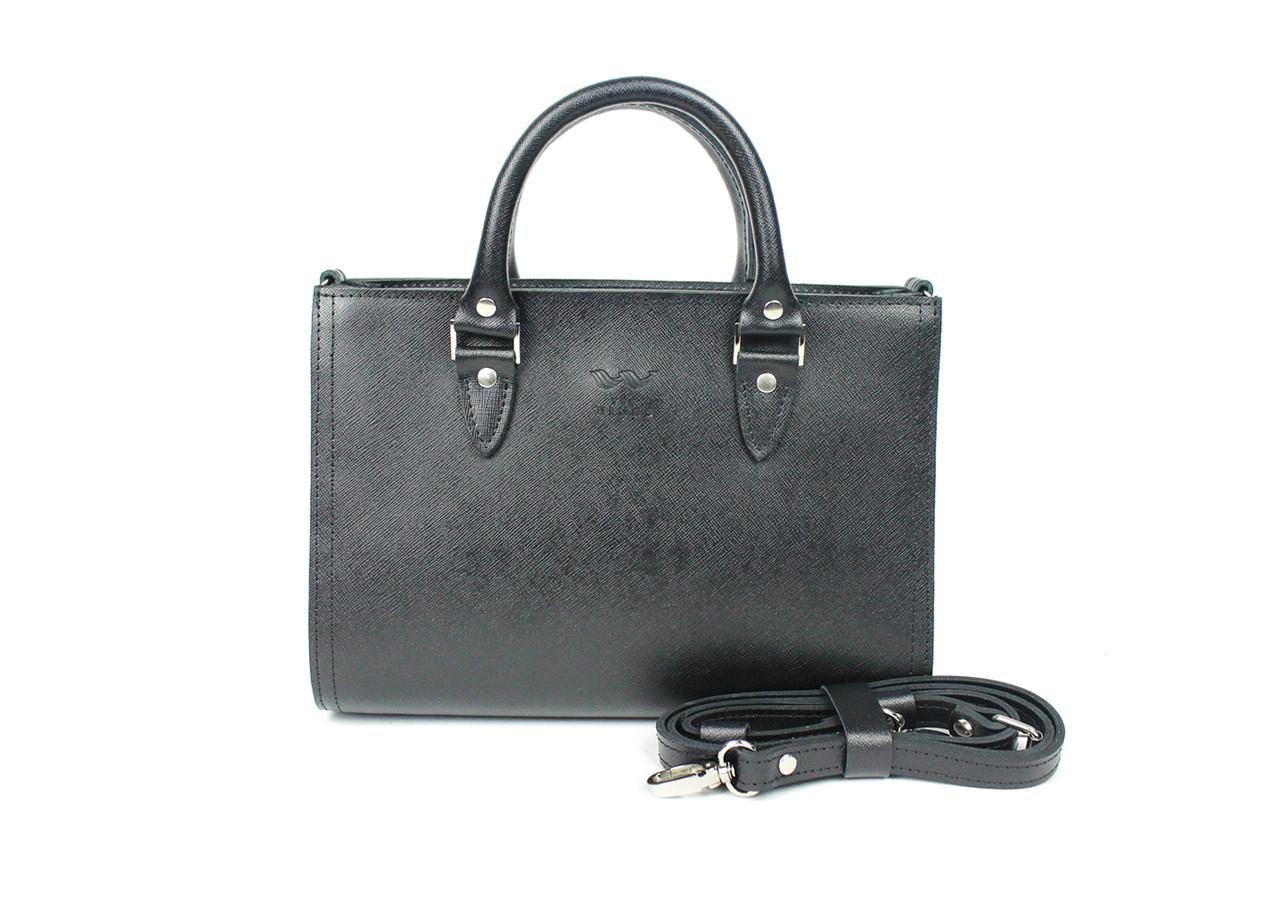 Жіноча шкіряна сумка Fancy чорна сап'ян