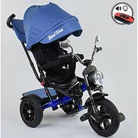 Детский велосипед трехколесный с ручкой и большой фарой Best Trike поворотное сиденье 1-3 года Синий 13767