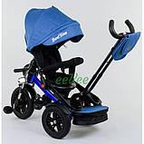 Детский велосипед трехколесный с ручкой и большой фарой Best Trike поворотное сиденье 1-3 года Синий 13767, фото 2