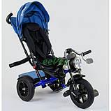 Детский велосипед трехколесный с ручкой и большой фарой Best Trike поворотное сиденье 1-3 года Синий 13767, фото 3