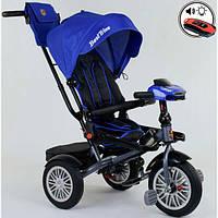Велосипед детский трехколесный с ручкой и фарой ламборджини Best Trike поворотное сиденье 1-3 года Синий 13771