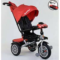 Детский велосипед трехколесный с ручкой и фарой Best Trike поворотное сиденье 1-3 года Красный 13773